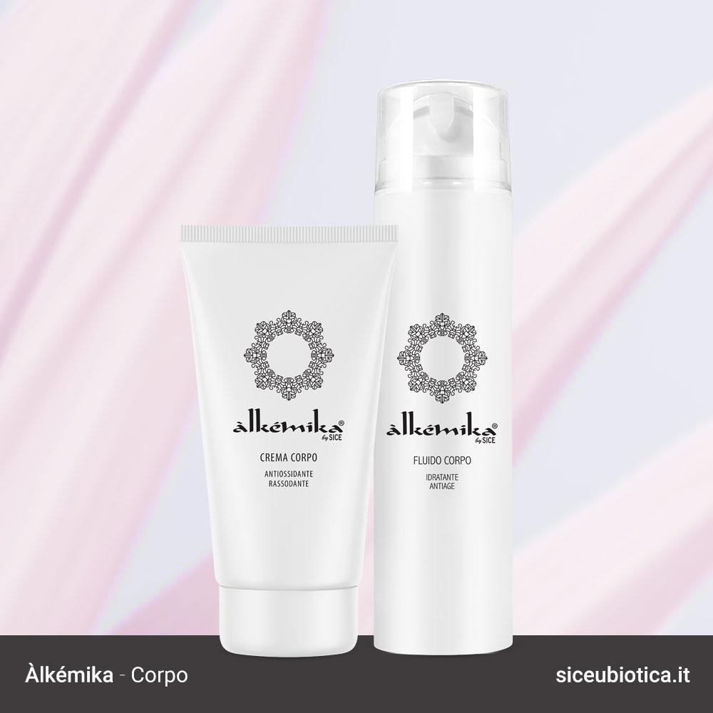 Linea Àlkémika Sice Eubiotica, crema corpo antiossidante e fluido corpo idratante antiage