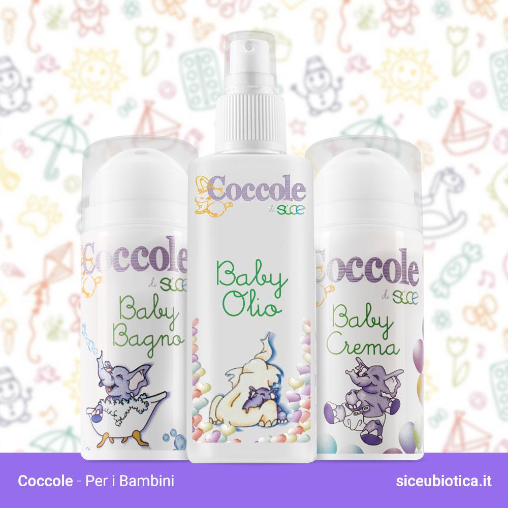 Linea Coccole Sice Eubiotica, bagnoschiuma, creme e olio per bambini